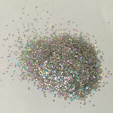 HOLOGRAPHIC SILVER CRYSTALINE nail art FESTIVAL FACE GLITTER .15 HEX 10/50/100g