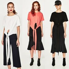 ZARA New T-Shirt With Front Knot Pink White Black Short Sleeve Stylish Top S M L