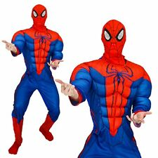 Mens Marvel Spiderman Avengers Muscle Adults Superhero Fancy Dress Party Costume