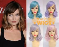 DELUXE MID LENGTH WAVY PASTEL HEAT RESISTANT FASHION WIGS - PINK, SILVER, BLUE