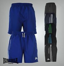 Mens Branded Lonsdale Training 2 Pockets Two Stripe Woven Shorts Bottoms