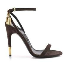 Auth NIB $990 TOM FORD Naked Strap Padlock Sandal Brown Suede 6 6.5 7.5 8.5 9 10