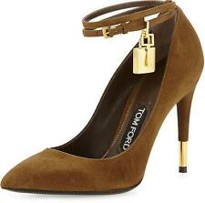 Auth NIB $990 TOM FORD Padlock Ankle-Strap Point-Toe Pump Brown Suede 7.5 8.5 9