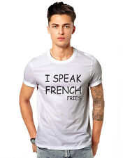 I speak French Fries Funky Mcd Food  Cool Unisex Casual T-shirt 180 GSM T-shirts