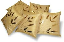 Czar Home Beautiful Beige Golden Leaves Cushion Cover Set of 5(12x12,16x16 Inch)