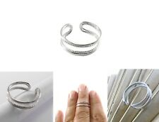 Silver Double Band Adjustable Stacking Open Toe Midi Finger Thumb Knuckle Ring