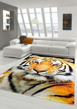 Moquette design Tappeto moderno Tappeto da soggiorno Tiger Orange Cream Black