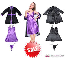 SALE Womens Sexy Black Purple Lace Back Night Dress & Robe Lingerie Set