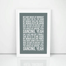 Bee Gees You Should Be Dancing Lyrics Poster First Dance Gift Printed Artwork