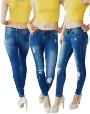 622 Damen Hüft Jeans Röhre  Hose Skinny Destroyed Look Denim zerrissenen Löcher