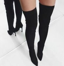 ZARA BLACK REAL LEATHER STRETCH OVER THE KNEE BOOTS UK 3 EUR 36 US 6 NEW