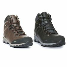 Trespass Cantero Mens Leather Walking Boots Black Mid Cut Hiking Shoes