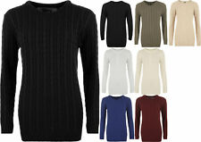 New Women Cable Knitted Long Sleeve Round Neck Sweater Top Ladies Jumper SM-L/XL