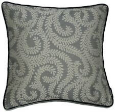 McAlister Textiles Little Leaf   Charcoal Grey Vintage Floral Cushion Covers