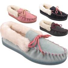 New Womens Slip On Warm Winter Fur Lined Ladies Leather Suede Moccasin Slippers