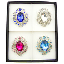 BOX GIFT SET OF 4 VINTAGE VICTORIAN SILVER DIAMOND LARGE COSTUME BROOCH PIN BLUE