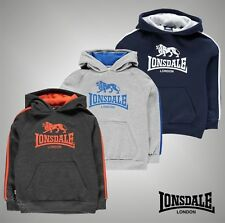 New Junior Boys Branded Lonsdale Large Logo 2 Stripe OTH Hoody Top Size Age 7-13