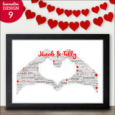 Christmas Gifts for Couples - Two Hands Love Heart Word Art Gift for Xmas Couple
