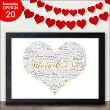 Christmas Gifts for Him & Her - Personalised Love Heart Word Art Gift for Xmas