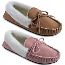 LADIES MOCCASINS SLIPPERS LOAFERS FAUX SUEDE SHEEPSKIN FUR LINED WINTER SHOES