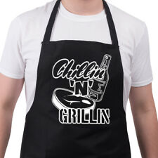 Novelty BBQ Aprons Mens Kitchen Gift Ideas Funny Birthday Chillin' 'n' Grillin'