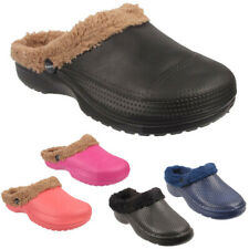 Womens Winter Fur Lined Warm Winter Comfort Ladies Furry Slippers Slip On Clogs