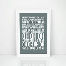 Guns n' Roses Sweet Child O' Mine Lyrics Poster Printed Wall Artwork