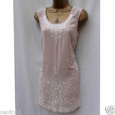 NEXT Pink White Embroidered Beaded Flapper Charleston Gatsby Party Evening Dress