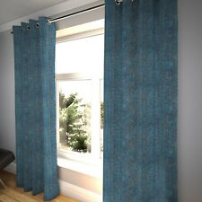 McAlister Textiles Distressed Textured Denim Blue Chenille Curtains