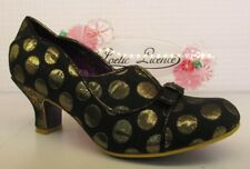 Poetic Licence by Irregular Choice Hold Up Black Gold Ladies Bow Low Heel Shoe