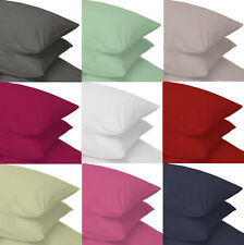 2 x Percale Pillow Case Housewife Pair Plain Polycotton Bedroom Pillow Cover