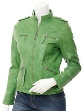 New Ladies Green Napa Leather Biker Jacket Shoulder Buttons Multiple Zip Fashion