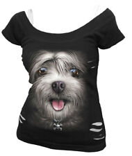 Spiral Misty Eyes, 2In1 White Ripped Top Black|Dog|Cute|Skulls|Fashion