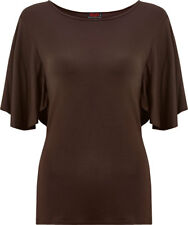 Spiral Gothic Elegance, Boat Neck Bat Sleeve Top Chocolate|Gothic
