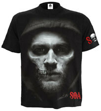 Spiral Jax Skull, Sons Of Anarchy T-Shirt Black|Skull|Gun|Horror