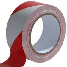 Red-White PVC Hazard Warning Tape Roll Self Adhesive Floor Security 50mm x 33m