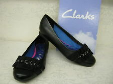 donna CLARKS OFFERTA Boutique stile eleganti in pelle nera scarpe slip-on C & D