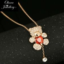 18K Rose Gold Plated Bear Cubic Zirconia CZ  Chain Pendant Necklace Jewellery Uk