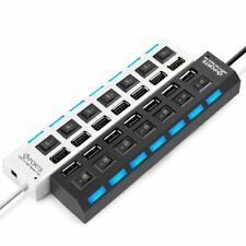 7 Port High Speed USB 2.0 Hub Adapter + Multi Charger ON/OFF Switch PC-Laptop
