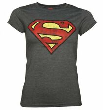 Official Women's Charcoal Distressed Superman Logo T-Shirt