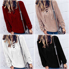UK Womens Casual Long Sleeve Knitwear Jumper Coat Lace up Sweater Pullover New