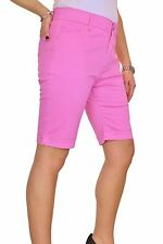 Womens Plus Size Jean Style Shorts Chino Sheen Pink NEW 14-24