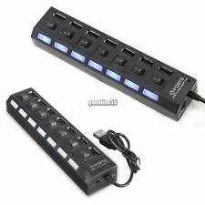 7 Port USB 2.0 Black Hub + High Speed Adapter ON/OFF Switch for Laptop-PC NEW~~~