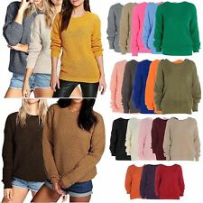 Women Ladies Chunky Sweater Oversized Baggy Knitted Jumper Top Plus Size 8-18