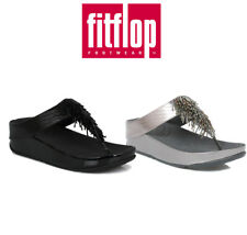 FitFlop Womens Cha Cha Sandals, Black or Silver, Slip On, Casual Summer Shoes