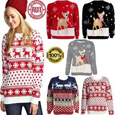 WOMEN'S CHRISTMAS JUMPER'S LADIES REINDEER RUDOLPH BAMBI KNITTED XMAS POMPOM TOP