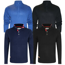 Mens Jumper Stallion Zip Neck and Crew Neck Chunky Sweater Casual Designer New
