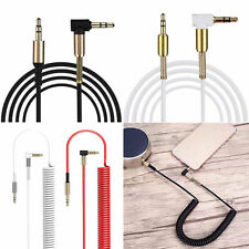 Spring right-angled 3.5mm (male) to 3.5mm (male) Audio Jack Plug Aux Lead Cable