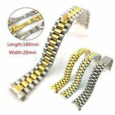 20mm Mens Watch Strap Bracelet Stainless Steel Band Solid Links Curve End Bands