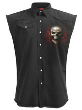 Spiral Game Over, Sleeveless Stone Washed Worker Plus Size|Reaper|Skull|Death